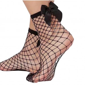 LADIES ANKLET NET SOCKS WITH BOW